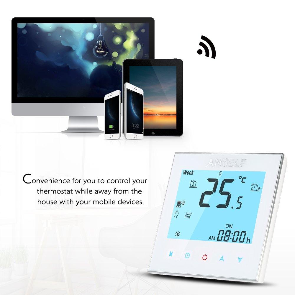 Anself - 16A 110 ~ 240V Termostato Programable de Calefacción Eléctrico WIFI Inteligente, LCD Pantalla Táctil, Ahorro de Energía: Amazon.es: Hogar