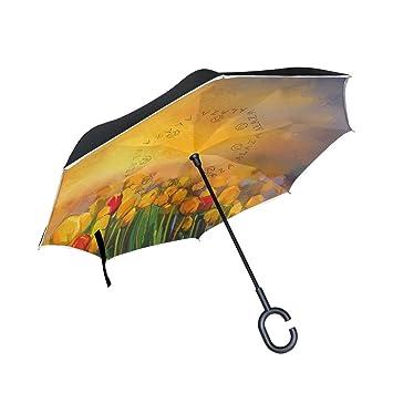 Mnsruu - Paraguas invertido de Doble Capa para Pintura al óleo, Tulipanes, Flores,