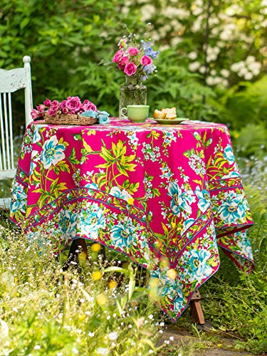 April Cornell Waterlily Hot Pink Floral Print 36 x 36 Inch Square 100% Cotton Tablecloth - Seats 2