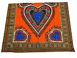 RaanPahMuang African Dashiki Heart Cotton Fabric Suitable for 1 Shirt Design, Orange