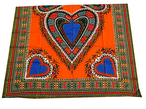 RaanPahMuang African Dashiki Heart Cotton Fabric Suitable for 1 Shirt Design, Orange by RaanPahMuang
