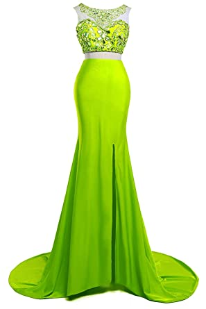 Orient Bride Two-Piece Split Side Crystals Mermaid Evening Prom Dresses Size 18 UK Lime