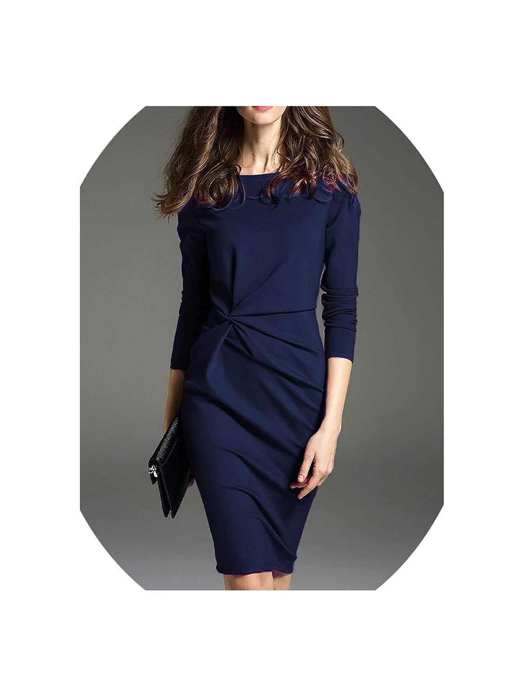 bluee Office Dress Summer Women Tunic Slim Pencil Dresses Ladies Three Quarter Large Size Midi Dress
