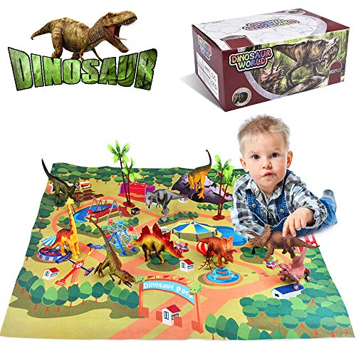 Villana Dinosaur Toys, Dinosaur Figures w/ Activity Play Mat & Trees, Dinosaur Playset to Create a Dino World Including T-Rex, Triceratops, ect for Kids, Boys & Girls Christmas Birthday Gifts