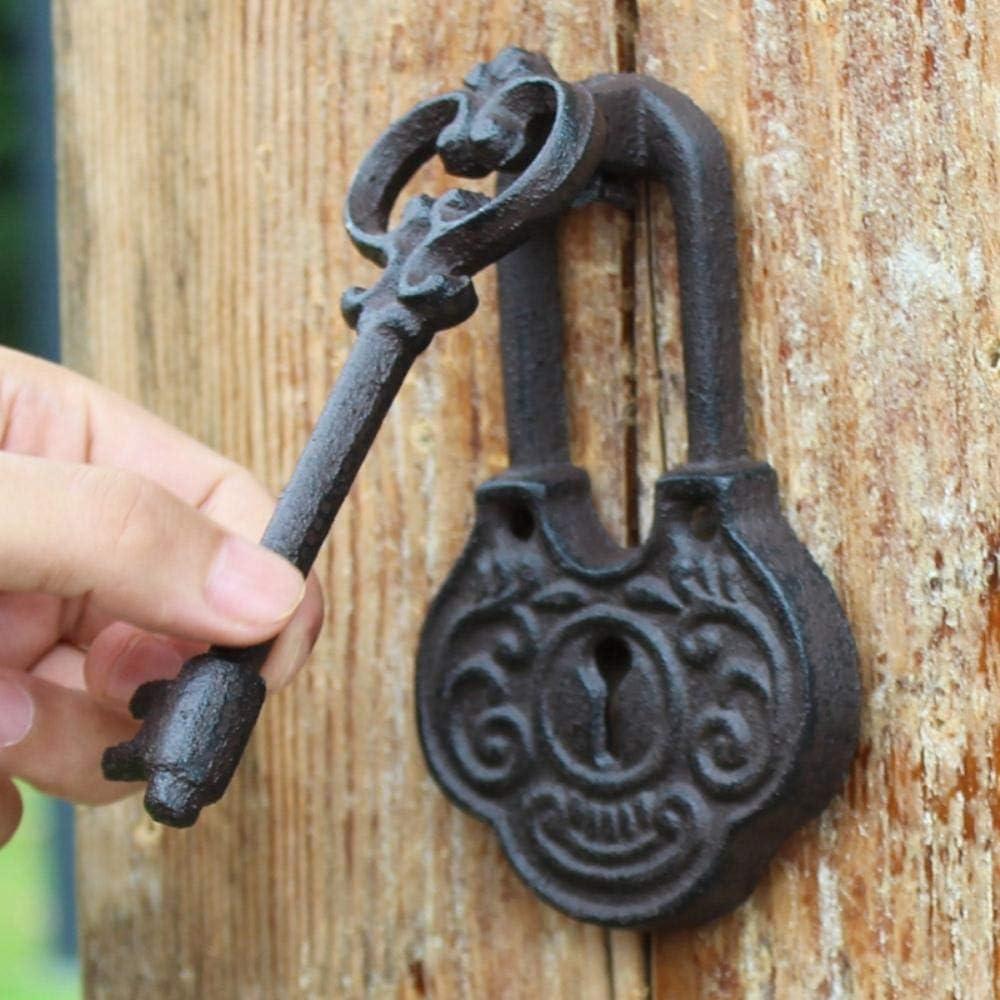 Qingsb Aldaba de Puerta de Hierro Fundido 2 con Mango Diseño de Llave Aldaba de Hierro Forjado Pestillo de Puerta Puerta de Metal Decoración de la casa Antigua Vintage