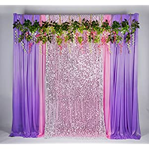 Kate 5x16ft Wedding Photo Curtains Background Artificial Silk Flowers for Party Decoration Stage Studio 94