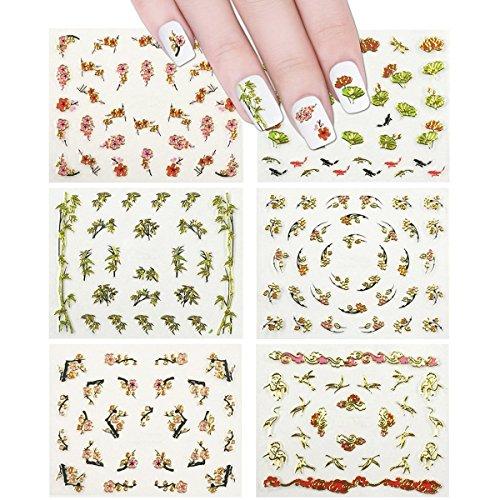 ALLYDREW 6 sheets Asian Inspired Nail Stickers Nail Art Cherry Blossom Nail Stickers Fish Nail Art - Cherry Blossoms, Bamboos, Gingko Leaves, Koi, Dragonflies & Cranes (6 designs)