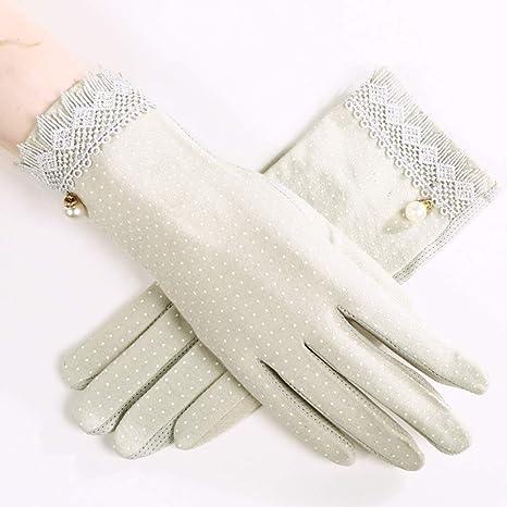 Houlian shop-Guante Guantes primavera verano línea de algodón guantes de protección solar para mujer sección corta de algodón anti-UV conducción guantes antideslizantes (blanco, rosa, negro, beige, pa: Amazon.es: Deportes y aire libre