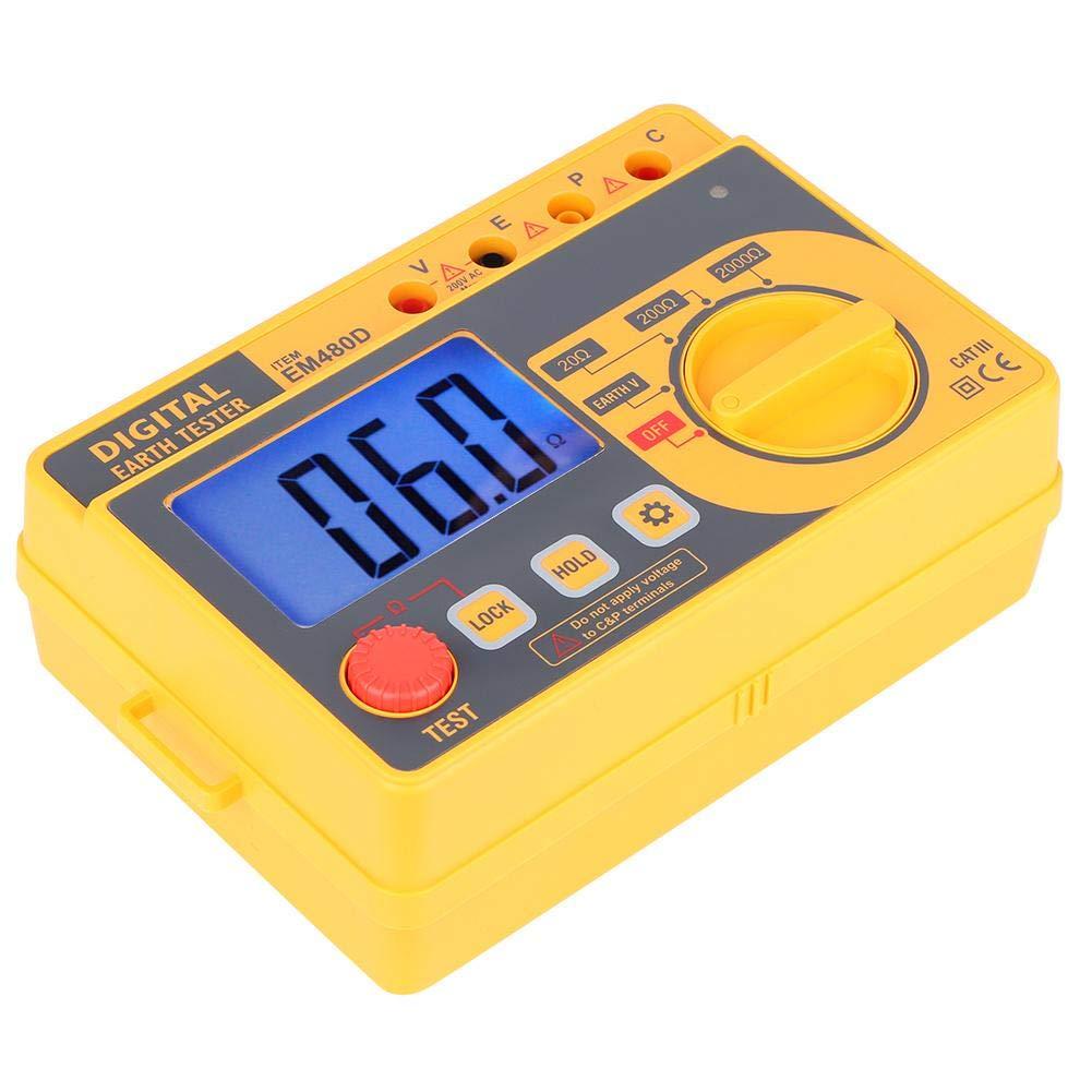 Digital Handheld Resistance Tester EM480D Portable High Sensitivity Digital Earth Grounding Resistance Tester Electrical Meter with LCD Backlight
