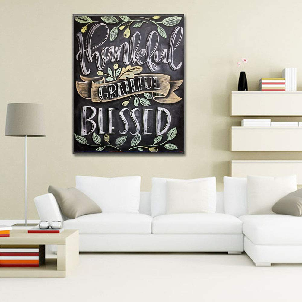 Crystal Rhinestone Diamond Embroidery Paintings Pictures Arts Craft for Home Wall Decor Full Drill Olives Thankful Grateful Blessed W029-11.8X15.7in DIY 5D Diamond Paint by Number for Adults Kit