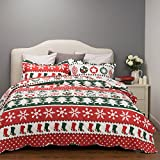 Reversible Printed Quilt Coverlet Set Bedspread Full/Queen Size(86'x96')3 Piece Quilt Set -Christmas Snow Flake Pattern-Lightweight Hypoallergenic Microfiber by Bedsure