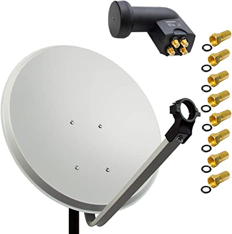 Premiumx 80cm Satellitenschüssel Stahl Hellgrau Elektronik