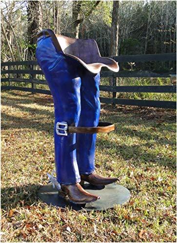 (Cowboy Bar Stools Pair Foot Rest Spurs Boots Western Jeans Furniture Hand Paint)