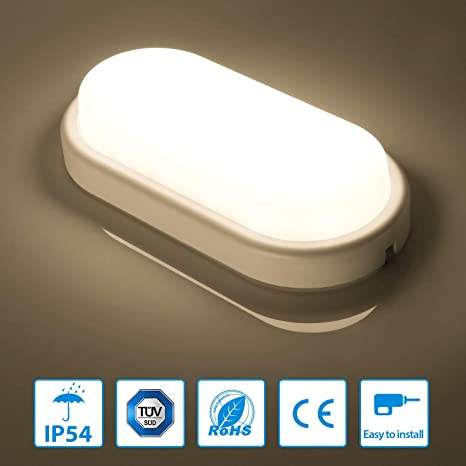 Jandamp;C 12W Lampada da Soffitto Ellittica a LED Plafoniera resistente all'umidità Lampada Anticorrosiva Bianco Naturale 4000-4500K IP54 850LM 2 anni di garanzia