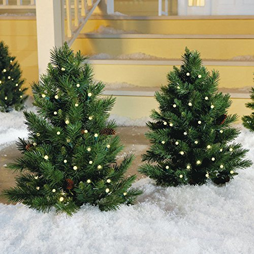 Outdoor Lighted Porch Christmas Trees - 8