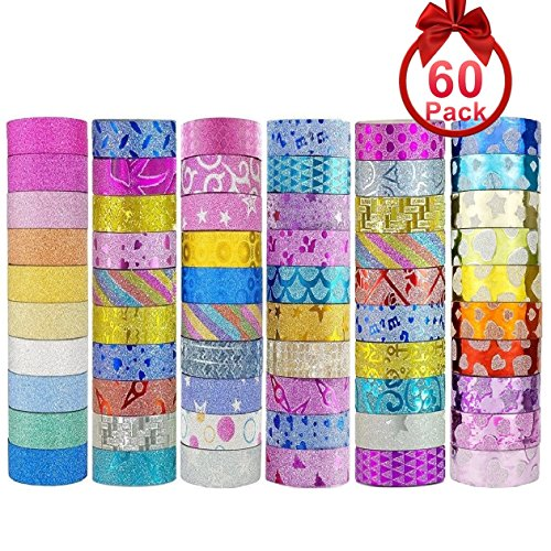Decor Tape (ONEST 60 Rolls New Designs Glitter Washi Masking Tape Set, Great Gift for DIY Scrapbook Photo Album Decorations Tape Adhesive School Supplies)