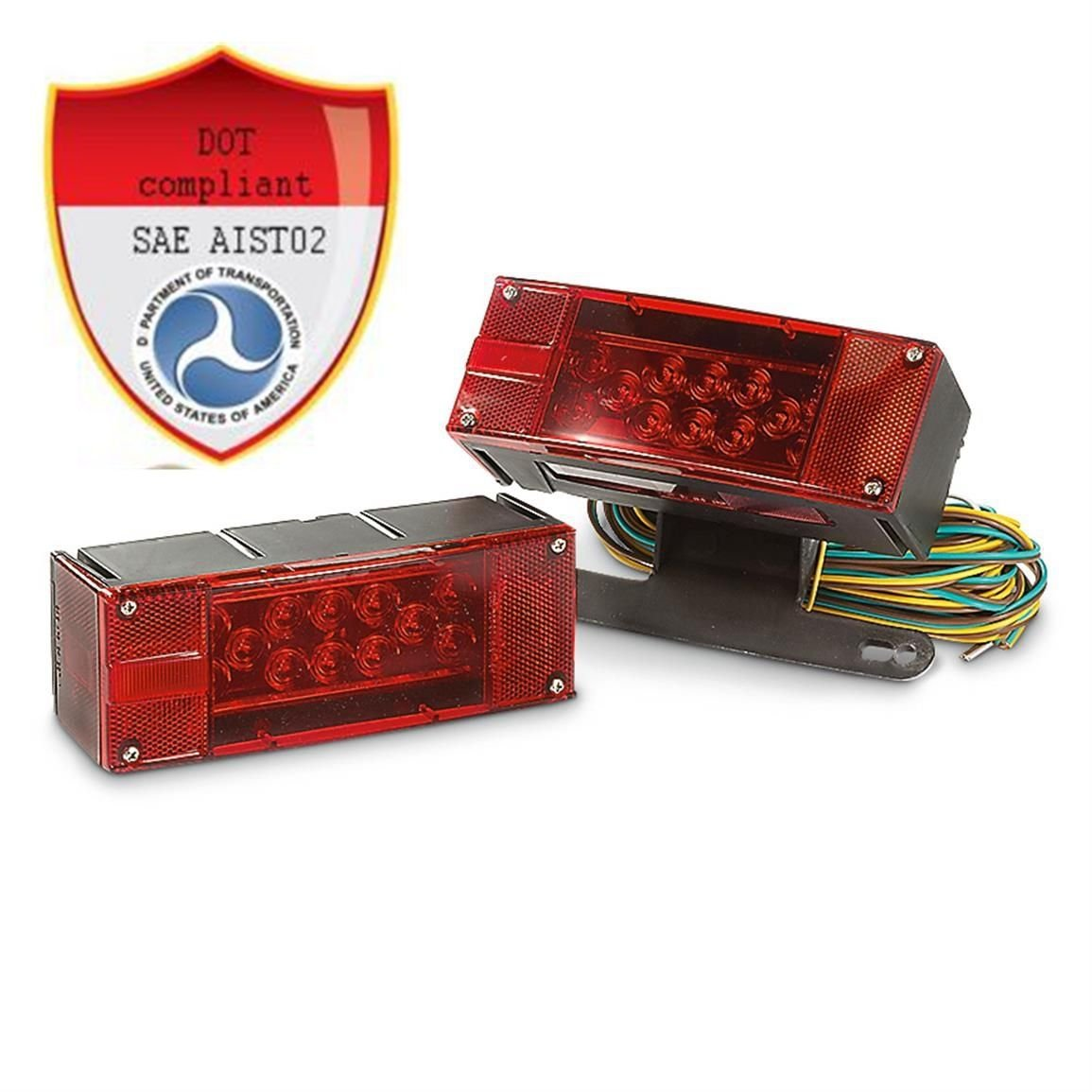 12V LED Submersible Trailer Light Kit Multi-Function leds DOT Compliant pair