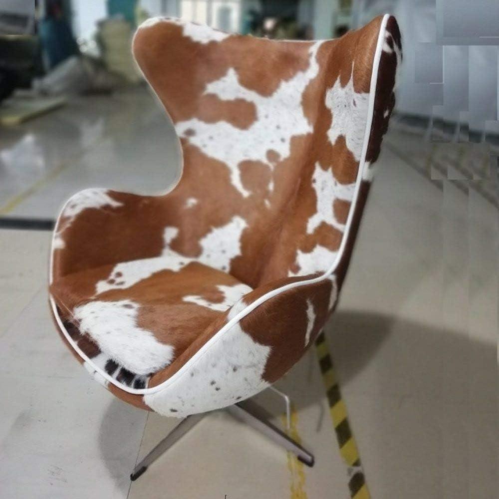 LKU Silla Silla de Ocio de Cuero de Caballo Moderno de réplica de diseñador, Silla de salón Modelo de Venta, Pony Blanco marrón