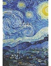 2021: Agenda Semainier A5   Planificateur Hebdomadaire Et Mensuel   1 Semaine Sur 2 Pages   Weekly Planner Scolaire Journalier   Organiseur Calendrier 12 Mois   Van Gogh La Nuit étoilée