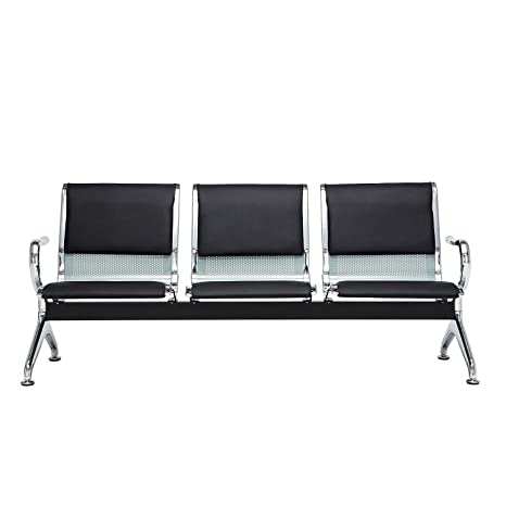 Bestmart INC Bench 3-Seat Barber Salon Airport Reception Waiting Room with Black Pu Leather Cushion