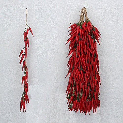 sexyrobot Artificial Fake Vegetable, Lifelike Red Chili Fake Peppers Strings Hanging for Home Christmas Wall Decor-10 Strings by sexyrobot (Image #2)
