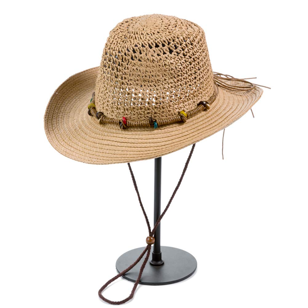 Unisex Fashion Raffia Straw Hat Fedora UV Protect Cap Summer Curl Brim Panama Sun Hats Beach Visor Cap
