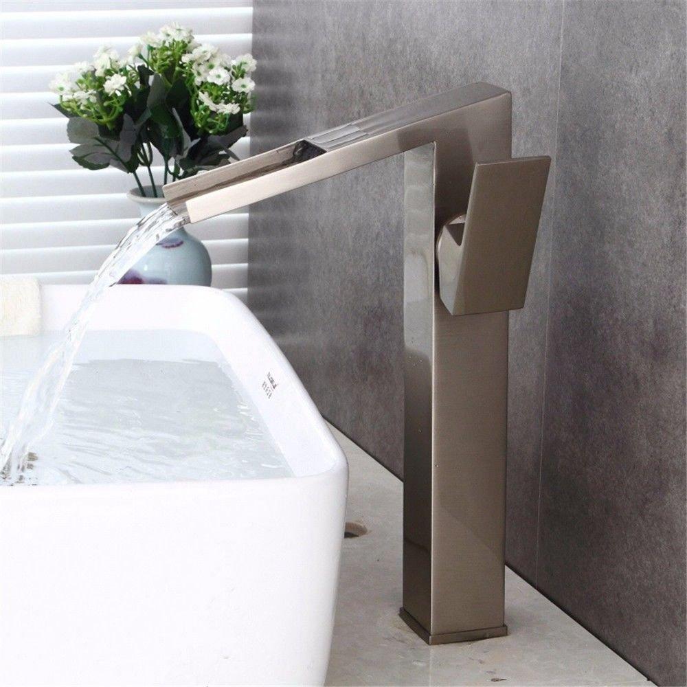 MEIBATH Waschtischarmatur Badezimmer Waschbecken Wasserhahn Küchenarmaturen Hebel Messing matt vernickelt Mode Wasserfall Küchen Wasserhahn Badarmatur