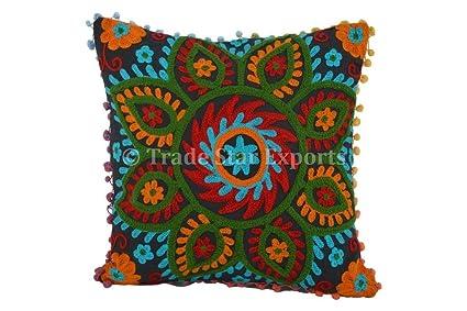 amazon com suzani outdoor pillows pom pom pillow cover 16x16