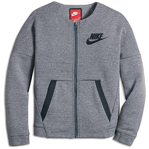 Nike Sportswear Tech Fleece Older Kids' (Girls') Jacket (Medium, Carbon Heather/Black)