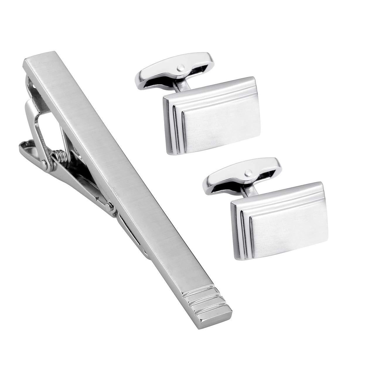 PiercingJ 3pcs Personalized Custom Engrave Name Initial Tie Clip Cufflinks Set Tie Pins Bar Cuff Link Shirt Studs Set Father Mens Business Wedding Shirts + Gift Box