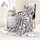 vanfan Soft Warm Cozy Throw Blanket Lacy Pastel Floral Butterfly Lotus Figures Meditation Design White Light Pink,Silky Soft,Anti-Static,2 Ply Thick Blanket. (90''x108'')