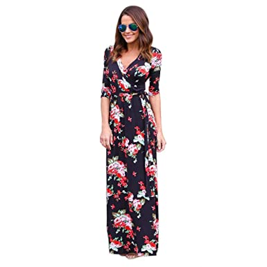 a5f1faed944 Amazon.com  Dressin Women V Neck Boho Long Bohemian Maxi Dress Summer  Casual Evening Party Beach Floral Sundress Dresses  Clothing