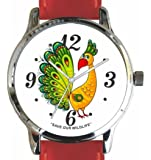 """Save Our Wildlife"" Large Chrome Watch with Red Leather Strap has a ""Peacock"" image and Donation to the African Wildlife Foundation"