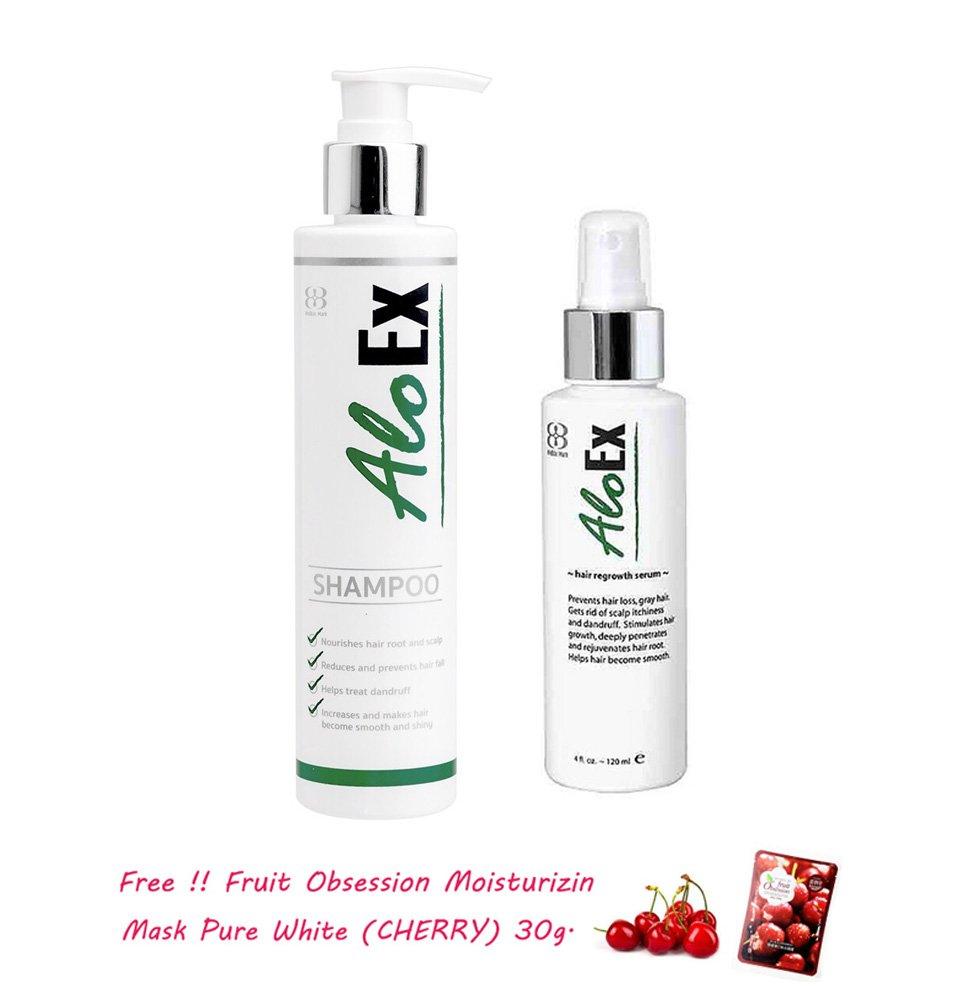 Aloex Hair Regrowth Set (Shampoo 200ml + Serum 120ml) Hair Loss Hair Growth Rehair Natural Herbs[get Free Tomato Facial Mask & Ceramine Uv Line Ginkgo Plus Whitening Cream 8.50ml.]