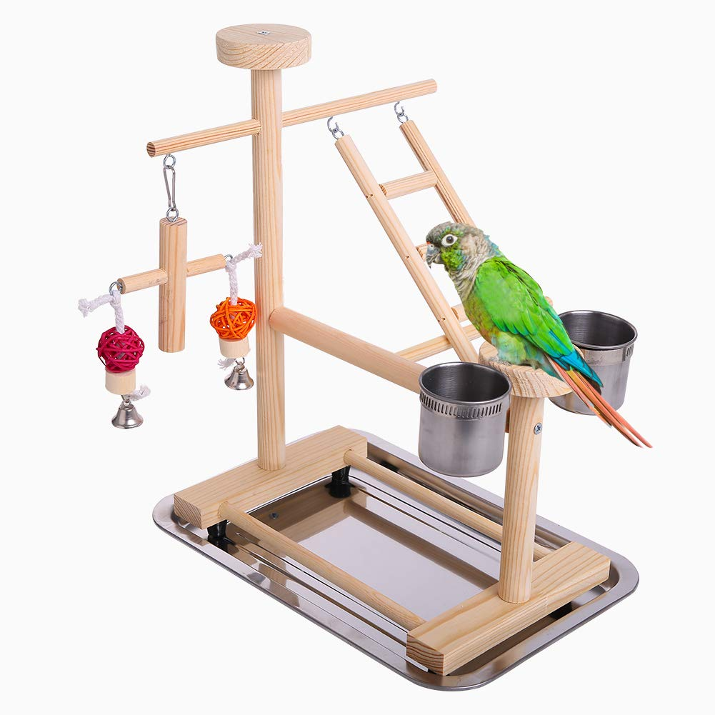 QBLEEV Parrot Playstand Perch Bird Play Stand Small Birds Play Gym Cockatiel Playground Platform Hanging Bell Swing Ladders Toys with Birdcage Food Dish Feeder Cup for Small Animals Hamsters Finch by QBLEEV