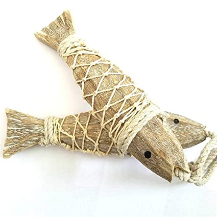 2Pcs Wooden Hanging Fish Coastal Village Handicrafts Nautical Wall Decor Wood