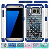 Galaxy S7 Edge Case, HLCT Rugged Shock Proof Dual-Layer Case for Samsung Galaxy S7 Edge (2016) (Owl Blue)