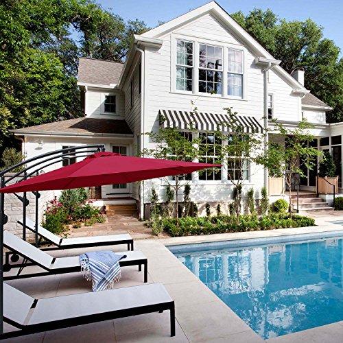 ABCCANOPY 10' Hanging Umbrella Cantilever Umbrella Offset Patio Umbrella Outdoor Market Umbrella Easy Open Lift 360 Degree Rotation (Wine Red-1) by ABCCANOPY