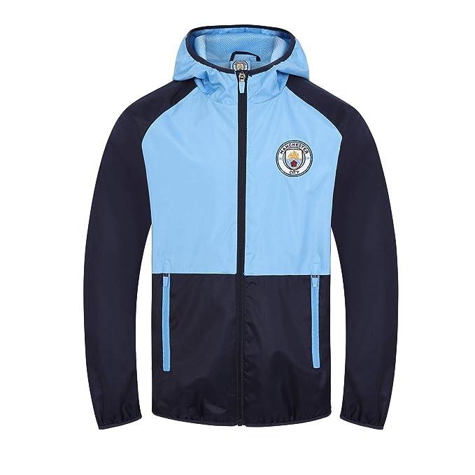 8964478ad7399 Manchester City FC - Chaqueta cortavientos oficial - Para niño - Impermeable  - Estilo retro  Amazon.es  Ropa y accesorios