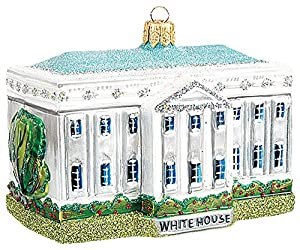 White House Building Washington DC Polish Glass Christmas Ornament Decoration