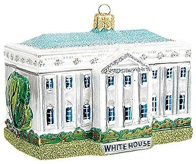 White House Building Washington DC Polish Glass Christmas Ornament Decoration