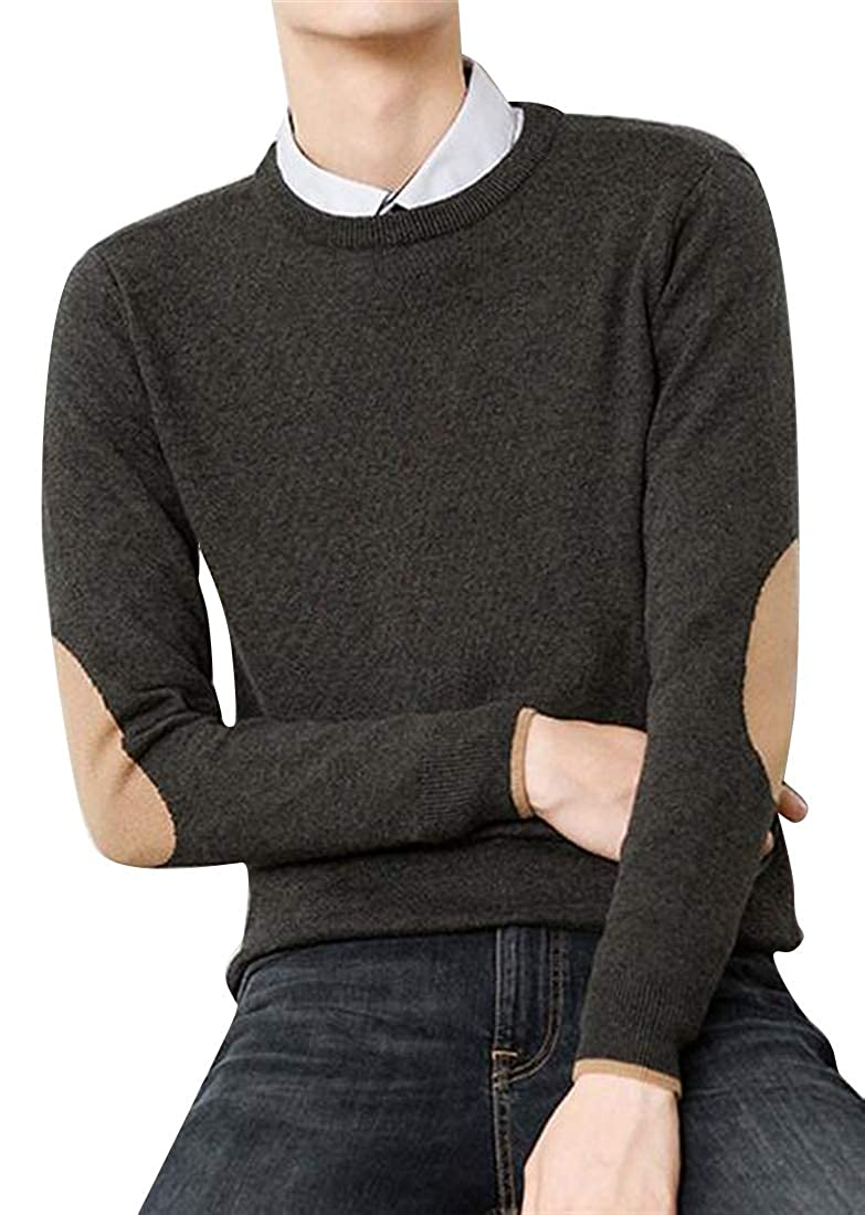 Fubotevic Mens Cotton Knitted Crew Neck Patch Winter Long Sleeve Pullover Sweater