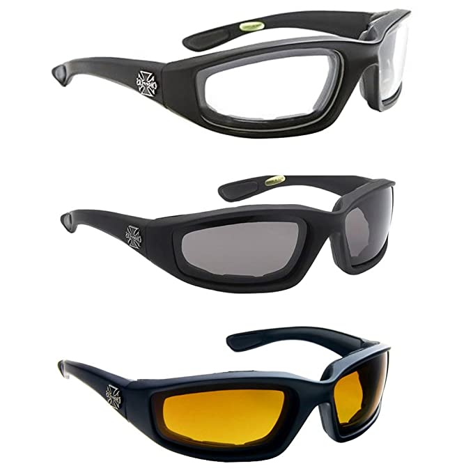 b1cf5e6775 Aviator Cycling Driving Polarized Geek Reading Fashion Frame 3 PAIR COMBO  Chopper Padded Wind Resistant sunglasses