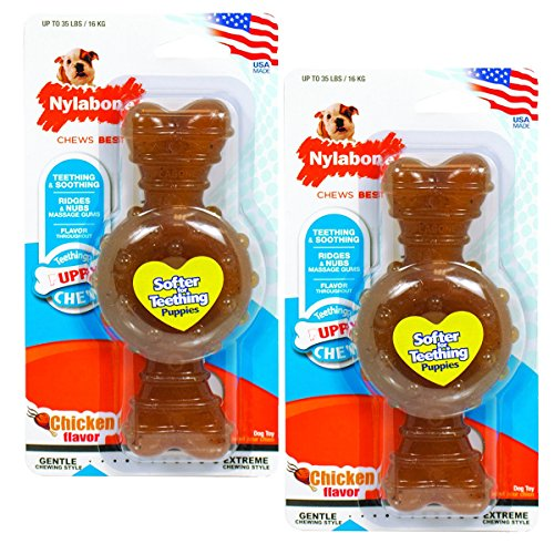 Nylabone just for puppies Chicken Flavored puppy dog ring bone teething chew toy, Wolf-2 Pack