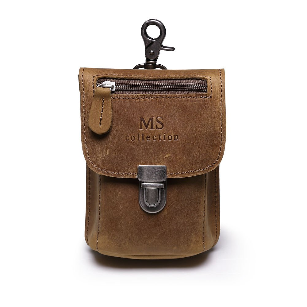 Win& Income Genuine Crazy Horse Leather Phone Wallet Fanny Waist Purse Hip Bum Bag, Brown