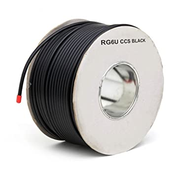 kenable 75 Ohms RG6U Coaxial Satellite Cable Reel 100m (~330 feet) Lead Black