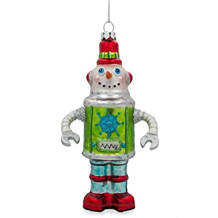 "BestPysanky 5.75"" Robot Snowman Blown Glass Christmas Ornament - Amazon.com: BestPysanky 5.75"