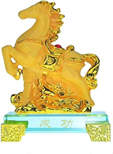 Golden Resin Feng Shui Statue Horse Home Office Table Top Car Decor Chinese Zodiac Twelve Animals Figurine Collectible Gift