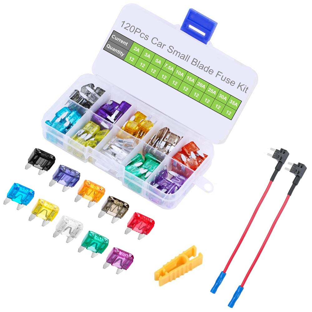 12V 2 Pack Add a Circuit Fuse Adapter with 120pcs Small Car Blade Fuses 2A 3A 5A 7.5A 10A 15A 20A 25A 30A 35A, OUHL Car Boat Truck SUV Automotive Replacement Fuses Holders Kit, Puller Included