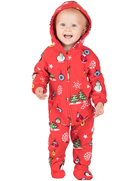 08d4611152 Amazon.com  Footed Pajamas - Holly Jolly Christmas Infant Hoodie ...